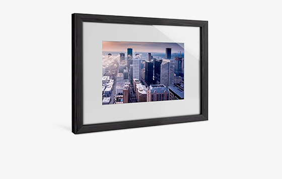 Solid wood frame with passe-partout