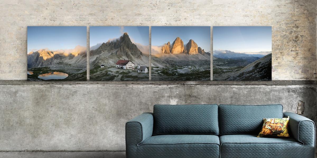 Bilder anordnen: Mehrteiler als dekorative Hängungsart von Kunst und Fotografie.