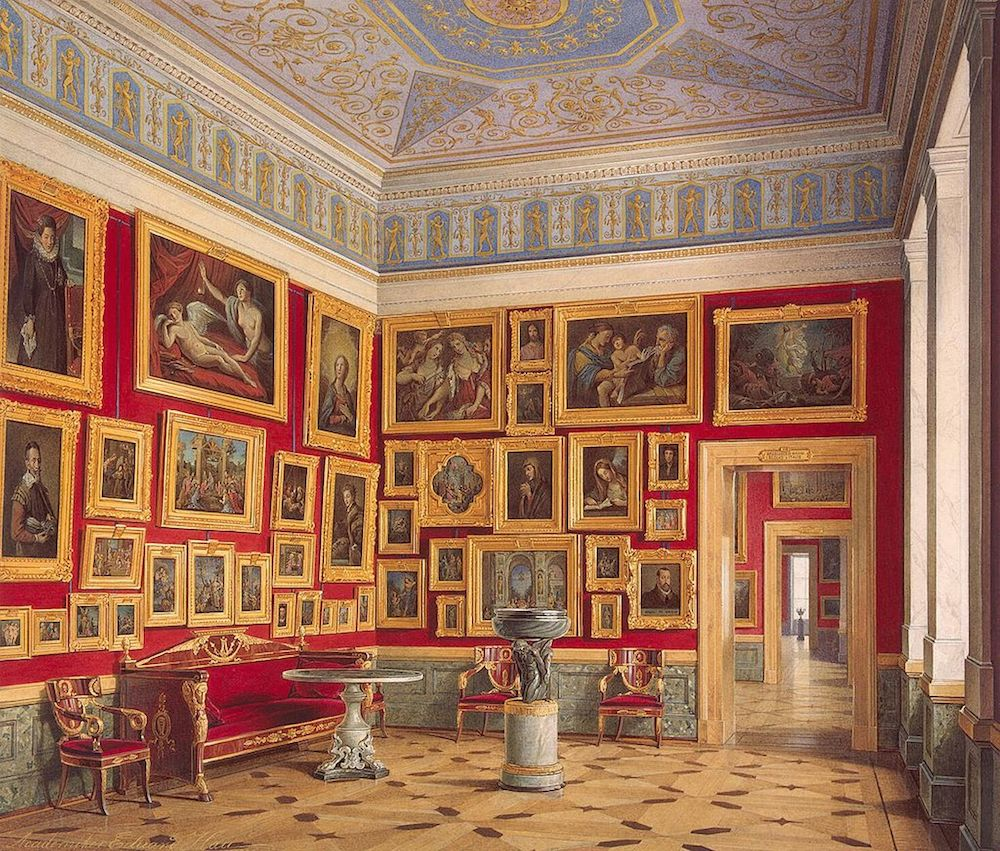 petersburger-hängung-bildergalerie-in- der-petersburger- eremitage-Eduard-hau- 1860