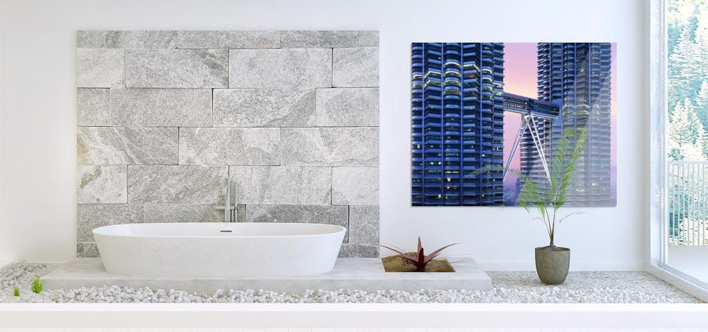 Bad gestalten mit Wandbild im Badezimmer