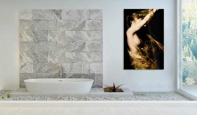 Metallbild als Wandbild im Badezimmer