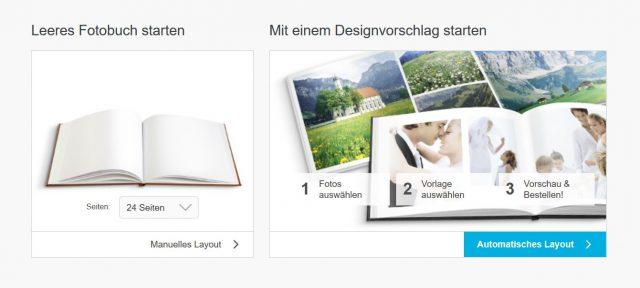 Das Fotobuch manuell oder mit einer Designvorlage erstellen.