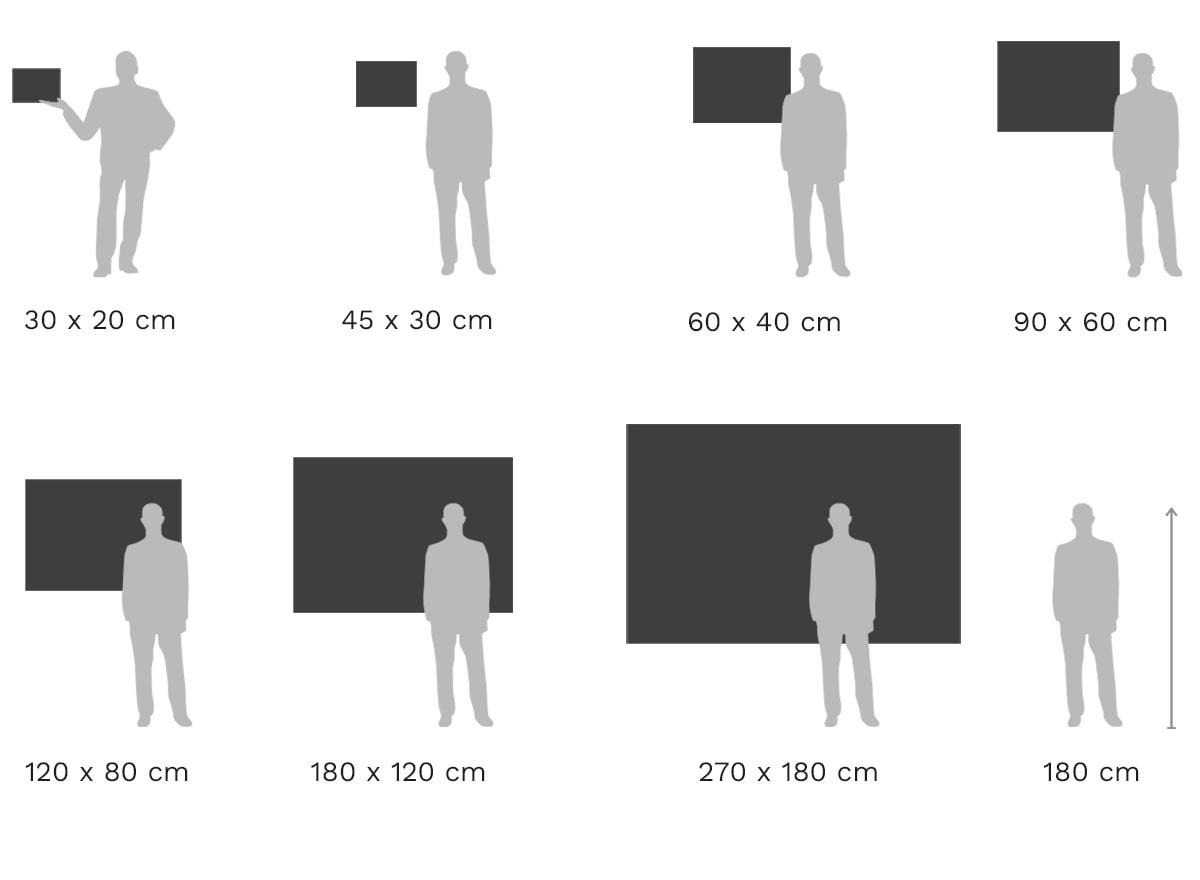 Größenvergleich: Echter Foto-Abzug hinter Acrylglas glänzend