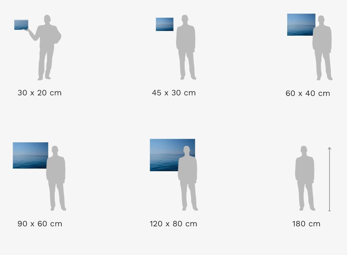 Grootte vergelijking: Foto met lijst