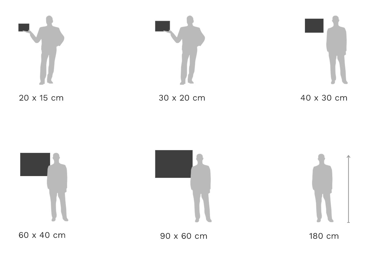 Größenvergleich: Foto im Aluminium-Rahmen