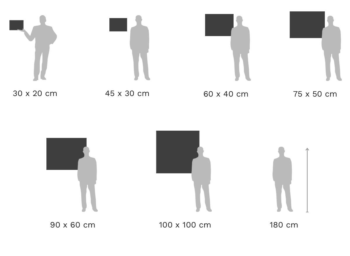 Größenvergleich: Foto-Abzug auf Barytpapier