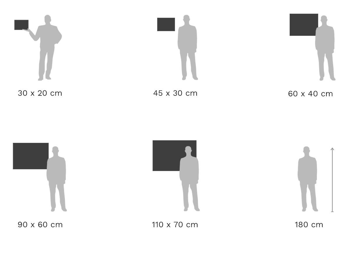 Größenvergleich: Foto im Passepartout-Rahmen