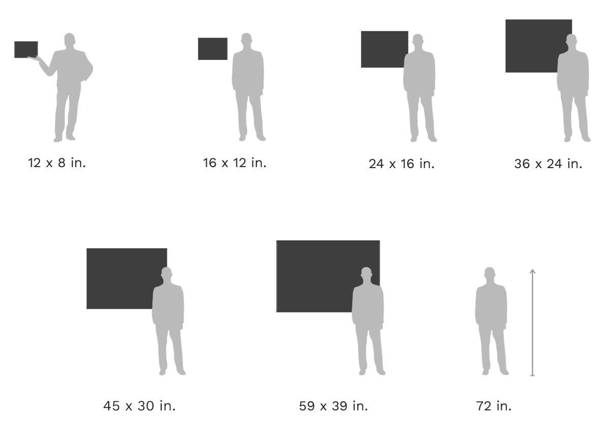 Picture Size Comparison Chart: HD Metal Print