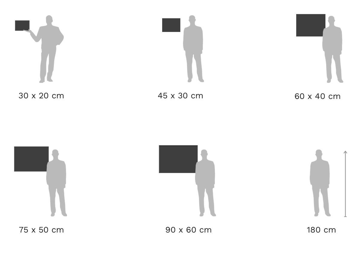 Größenvergleich: Echter Foto-Abzug auf Holz